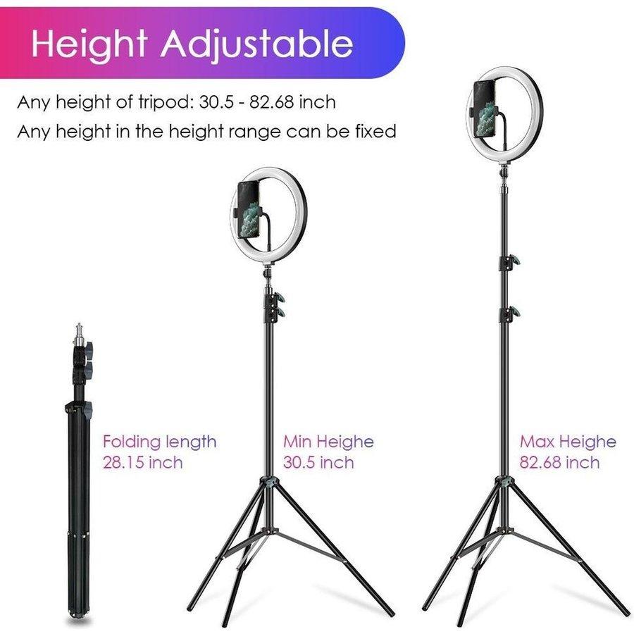 LED ringlamp met statief met telefoonhouder | verstelbaar tot 2,10m | TikTok lamp-8