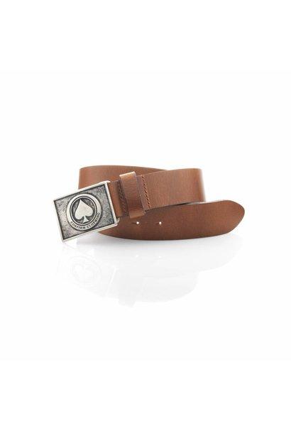 Leather Buckle Belt Cognac 100% genuine Leather