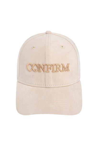 BRAND SUEDE LOOK CAP - NUDE