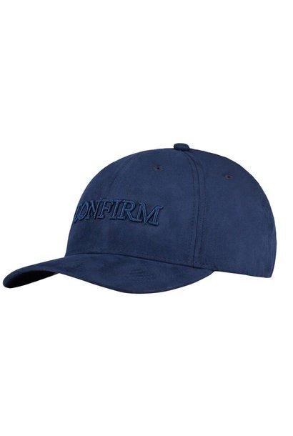 BRAND SUEDE LOOK CAP - BLUE
