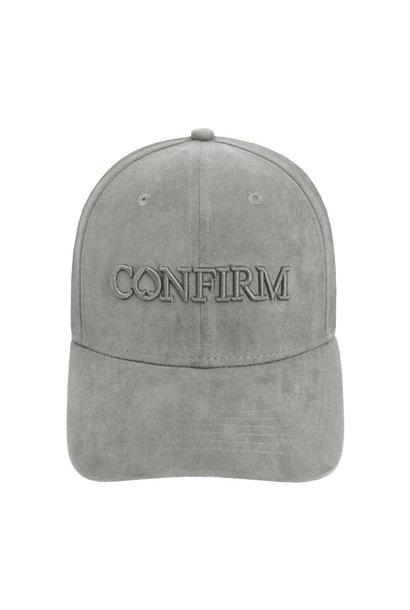BRAND SUEDE LOOK CAP - GREY
