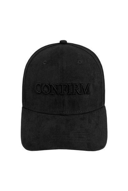 BRAND SUEDE LOOK CAP - ZWART