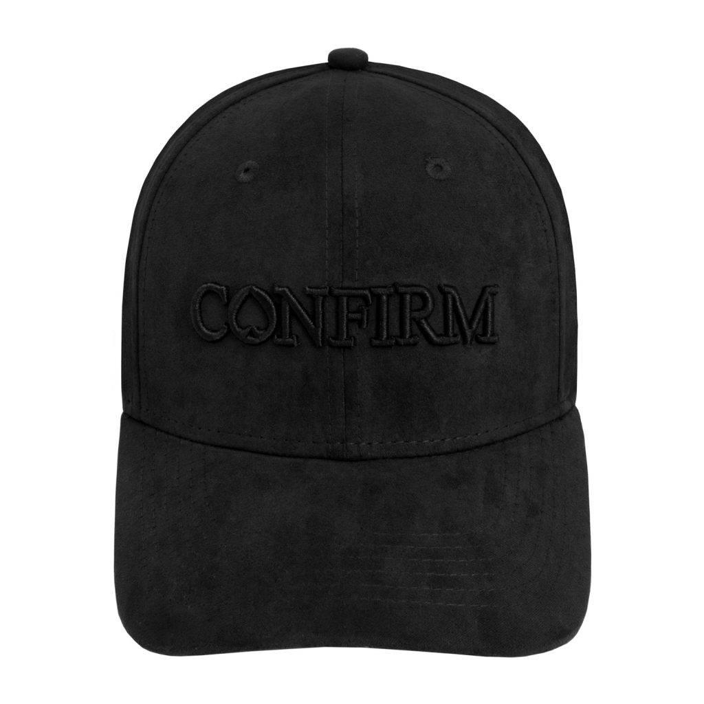CONFIRM BRAND SUEDE LOOK CAP - BLACK-2