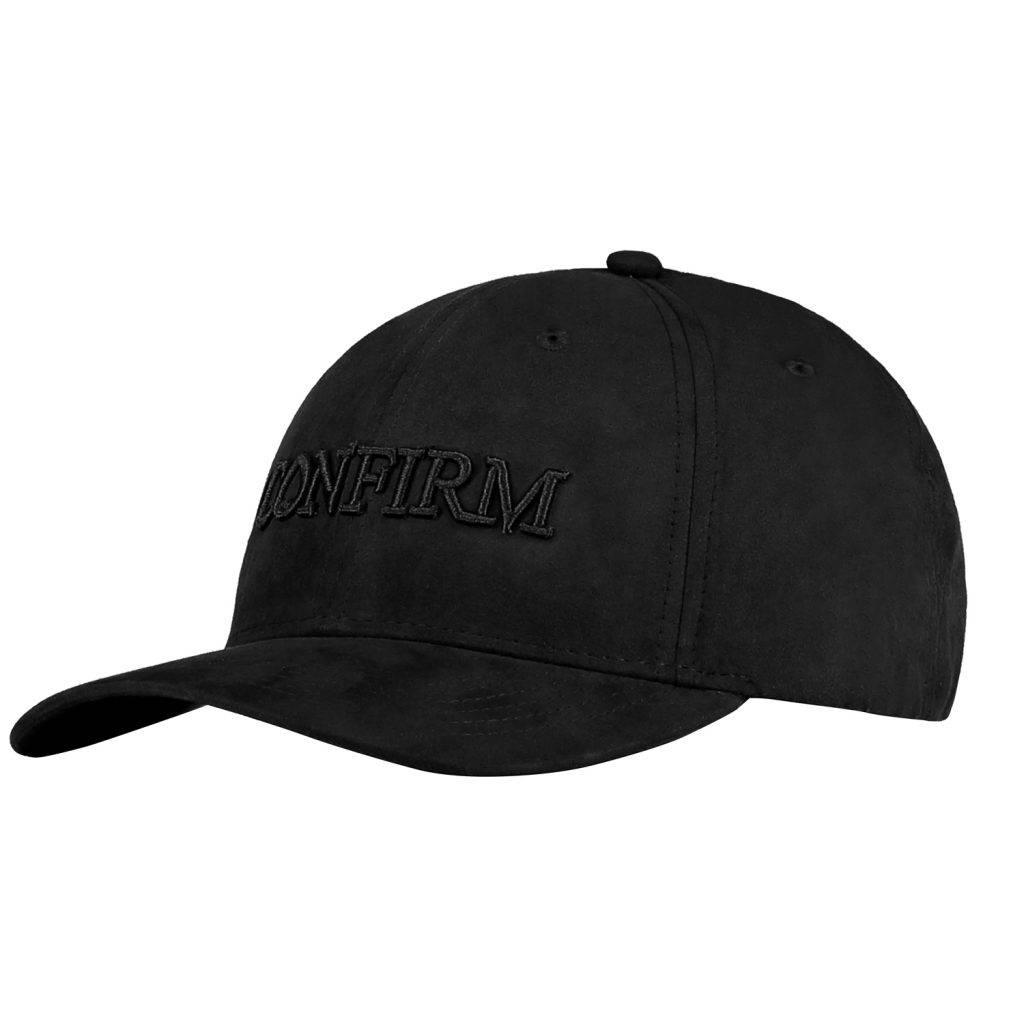 CONFIRM BRAND SUEDE LOOK CAP - BLACK-1