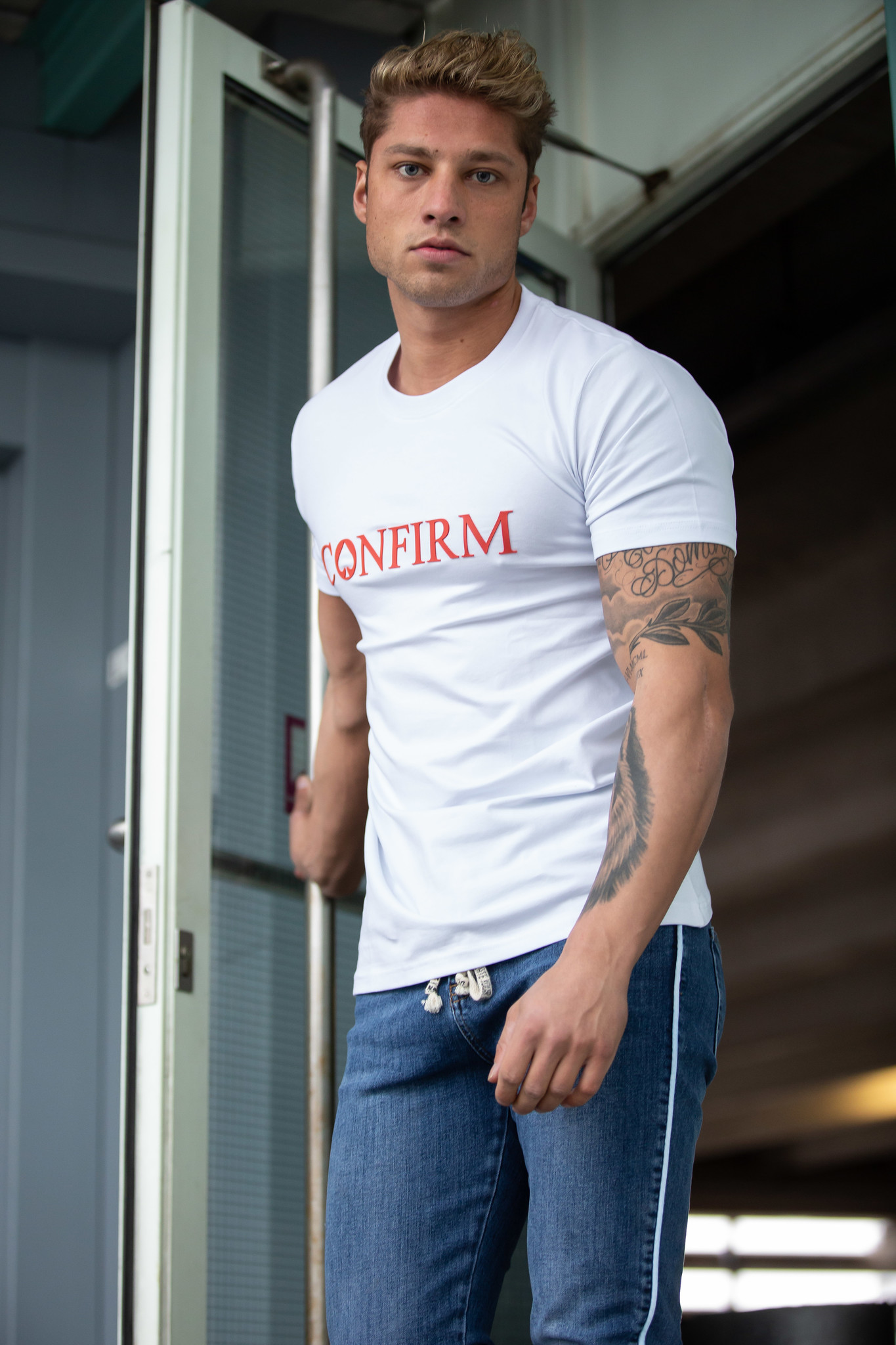 Confirm Brand T-shirt 3D - White/Red-4