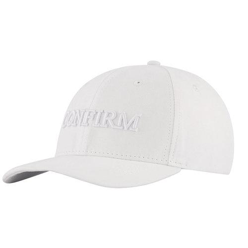 BRAND SUEDE LOOK CAP - WHITE