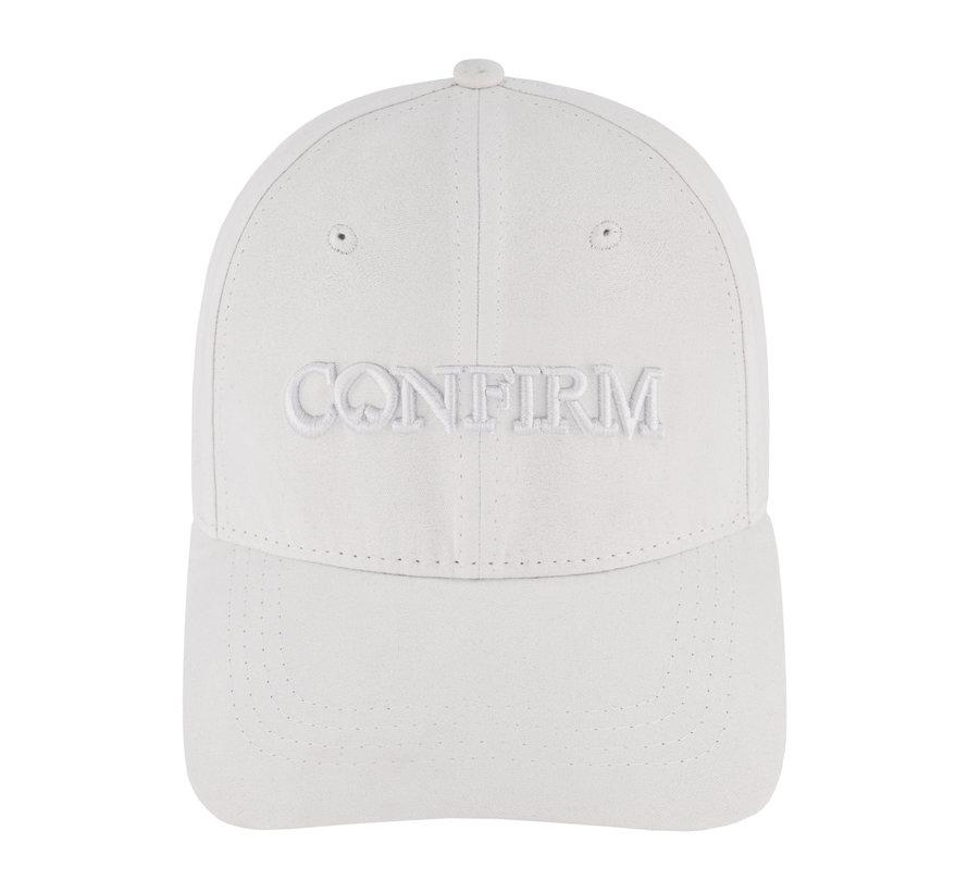 Confirm Brand Suede Cap White