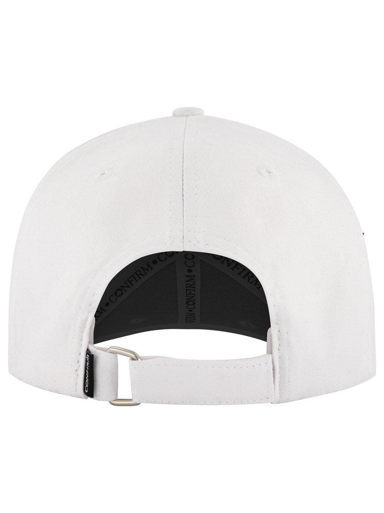 CONFIRM BRAND SUEDE LOOK CAP - WHITE
