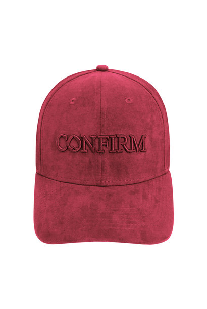 BRAND SUEDE LOOK CAP - BORDEAUX