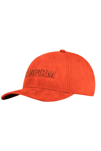 BRAND SUEDE LOOK CAP - ORANGE