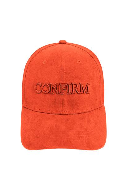BRAND SUEDE LOOK CAP - ORANJE