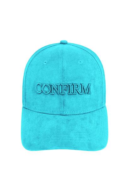 Brand Suede Cap - Aqua