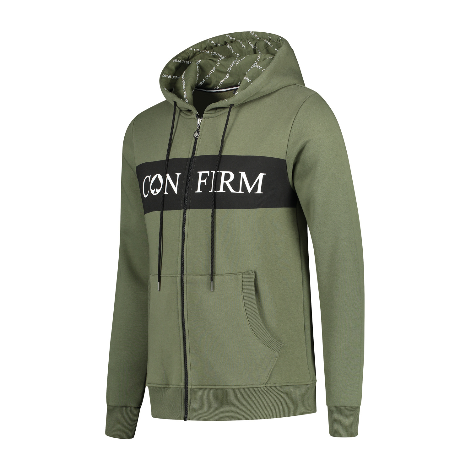 Confirm Brand Hoodie Vest - Army-2