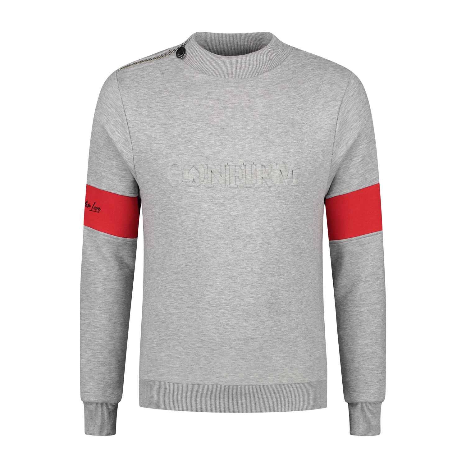 Confirm | Brand Zip Sweater Blind for Love - Grey-1