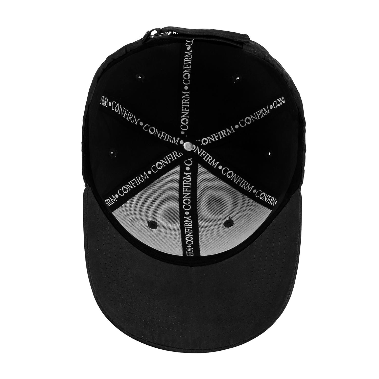 CONFIRM BRAND SUEDE LOOK CAP - BLACK-4