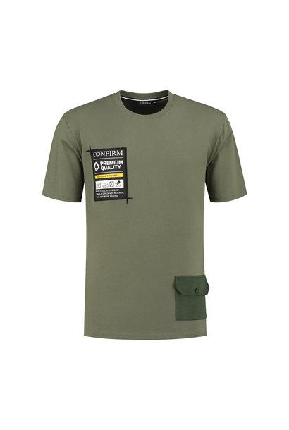 T-shirt pocketlabel - army