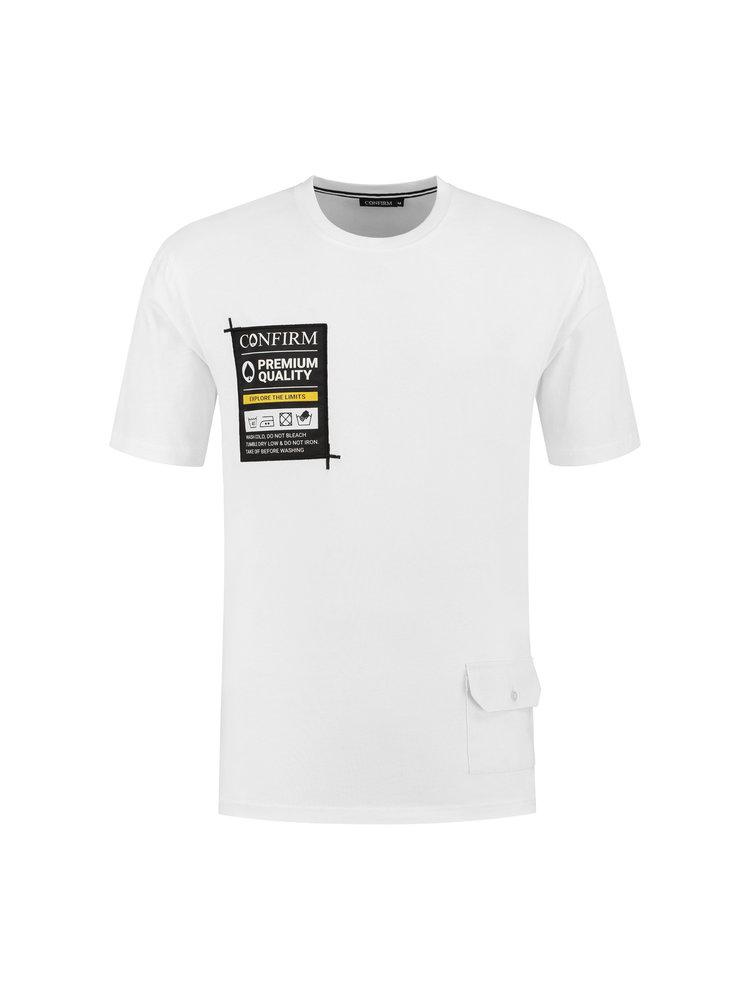 T-shirt pocketlabel - wit