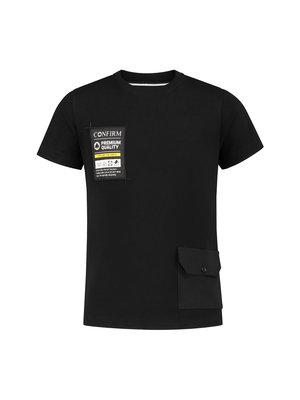 Junior T-shirt pocketlabel - zwart