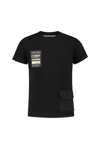 Junior T-shirt pocketlabel - zwart