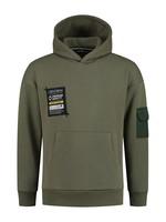 Hoodie pocketlabel - army