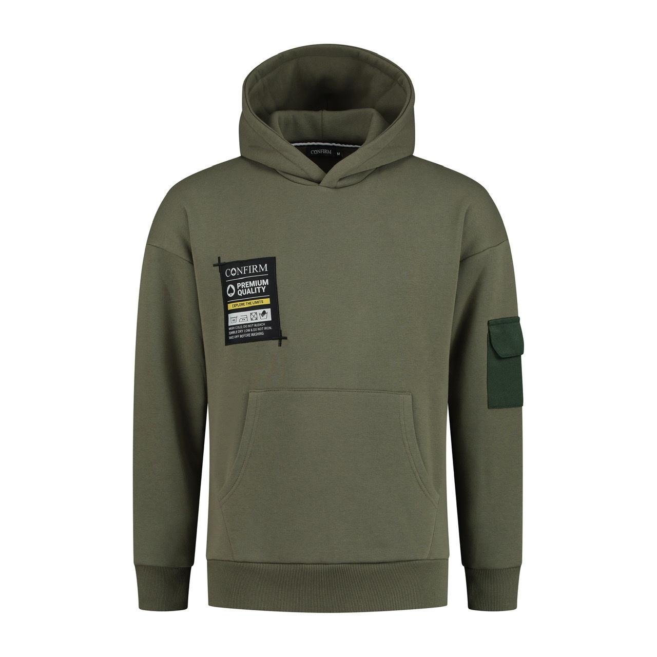 Confirm hoodie pocketlabel - army-1