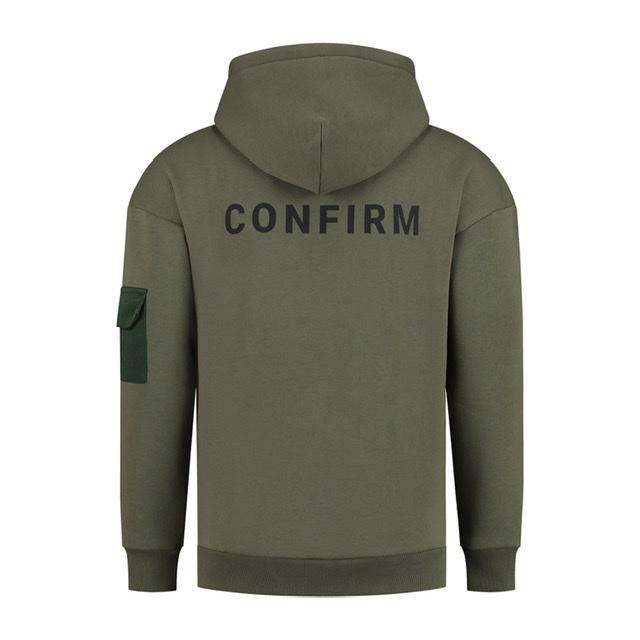Confirm hoodie pocketlabel - army-2