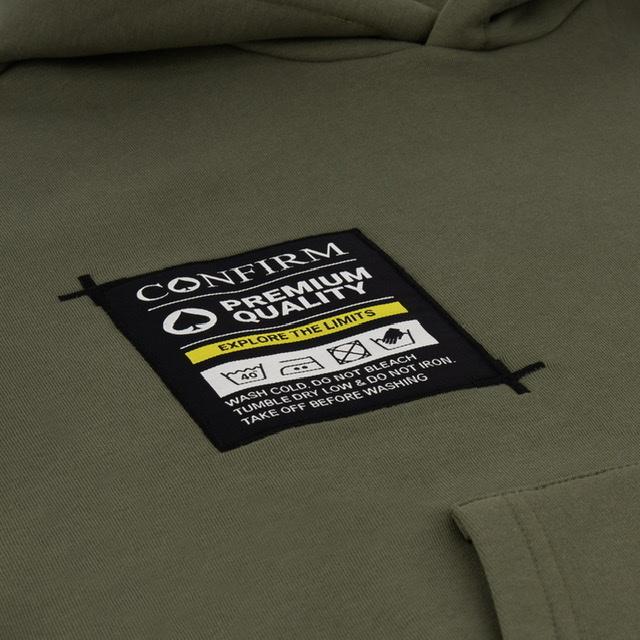Confirm hoodie pocketlabel - army-3