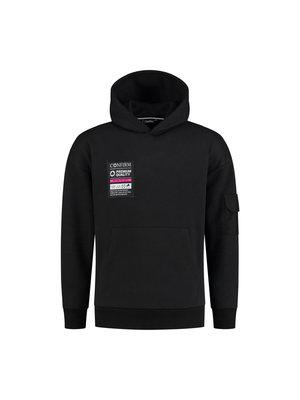 Hoodie pocketlabel - zwart/roze