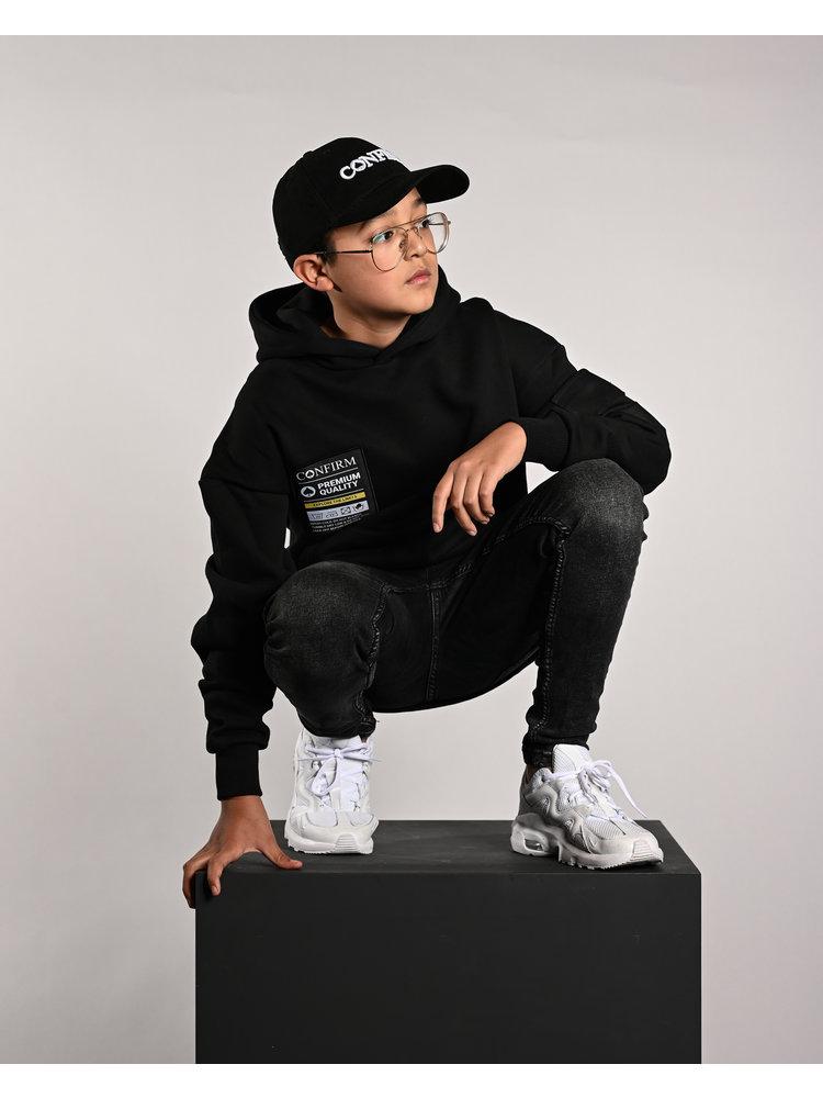 Confirm hoodie pocketlabel - black
