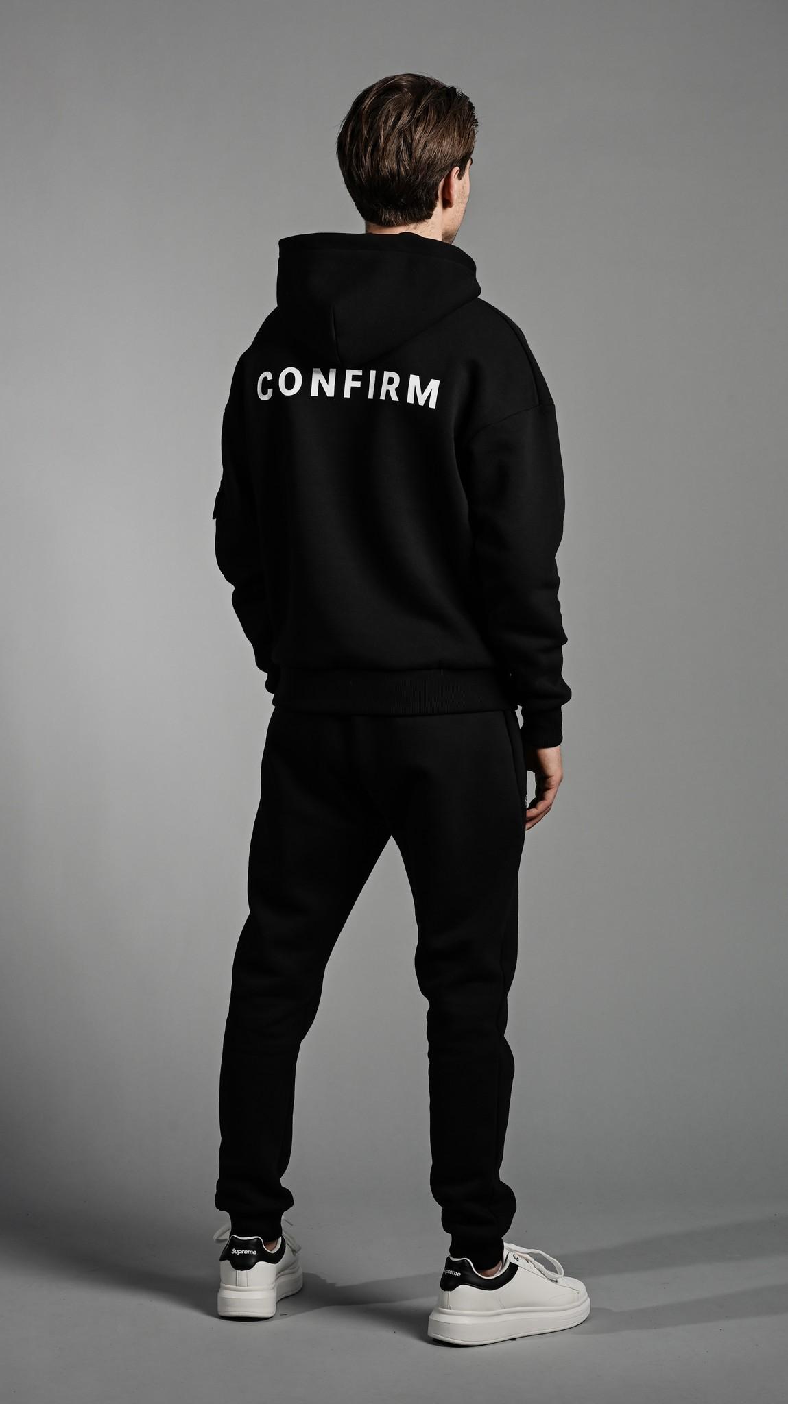 Confirm hoodie pocketlabel - black/pink-4