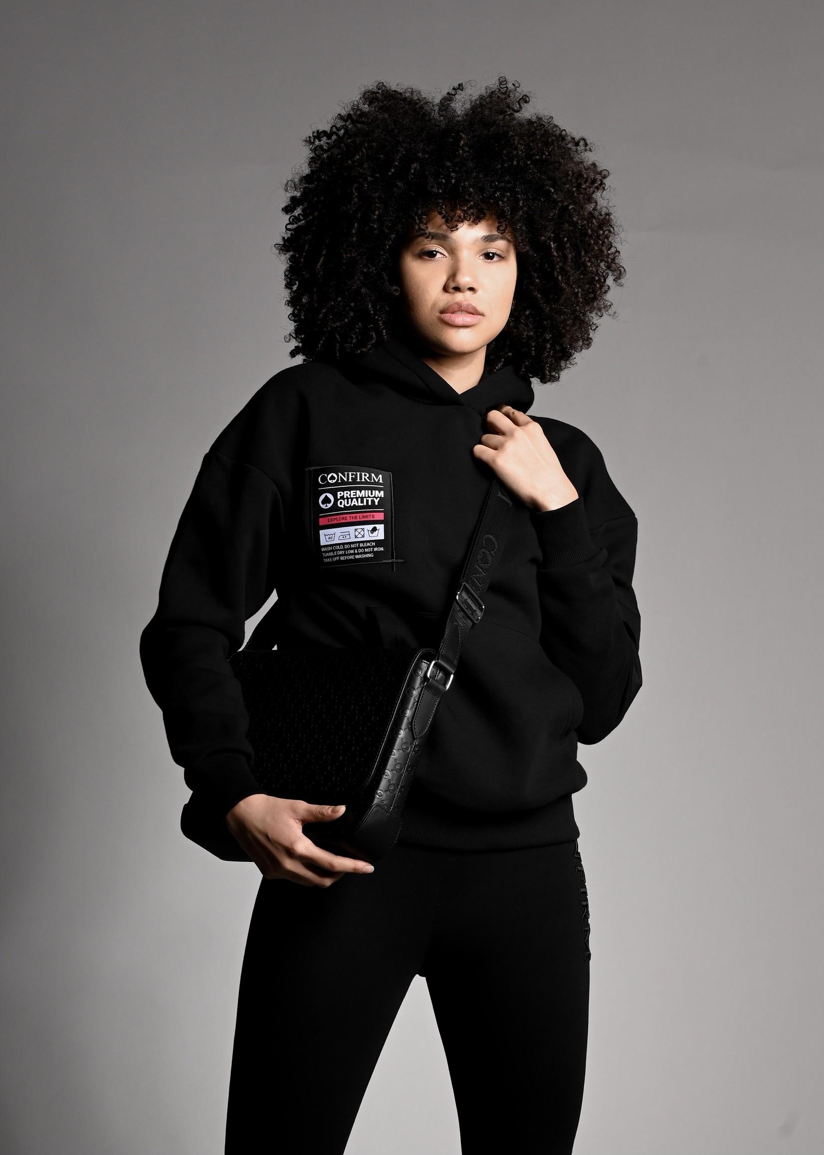 Confirm hoodie pocketlabel - black/pink
