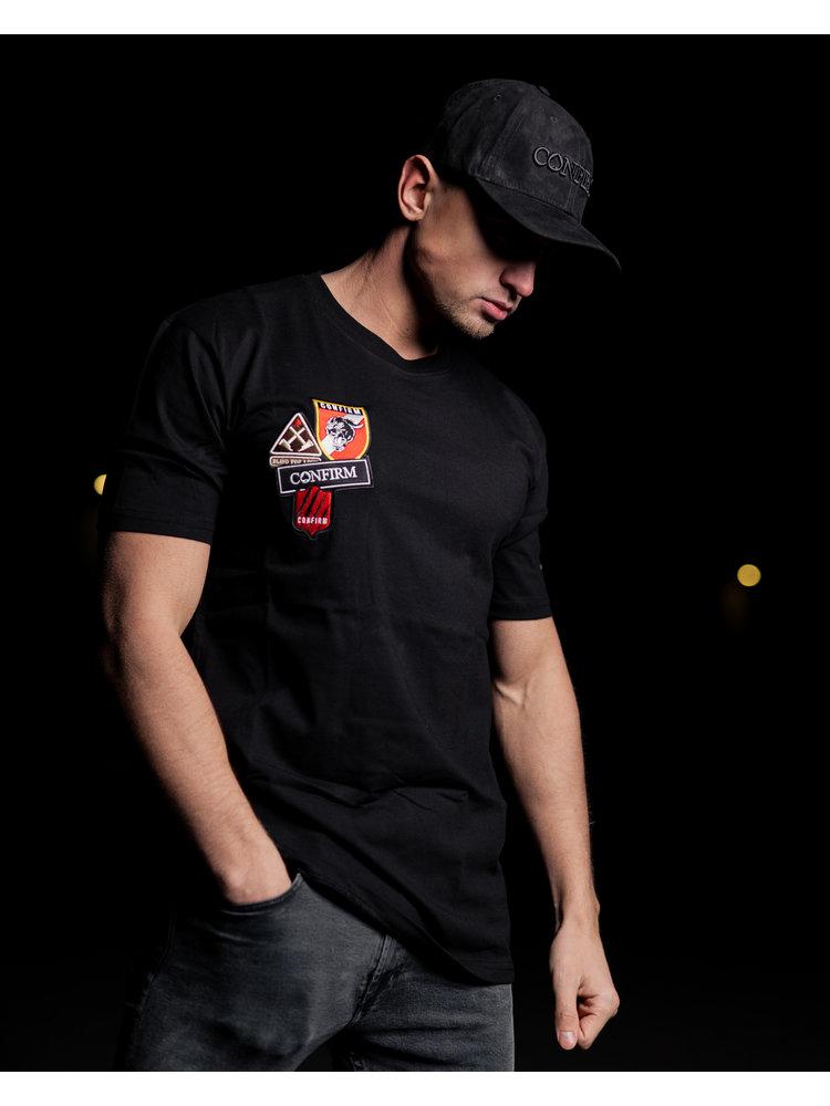 Confirm T-shirt patches- zwart