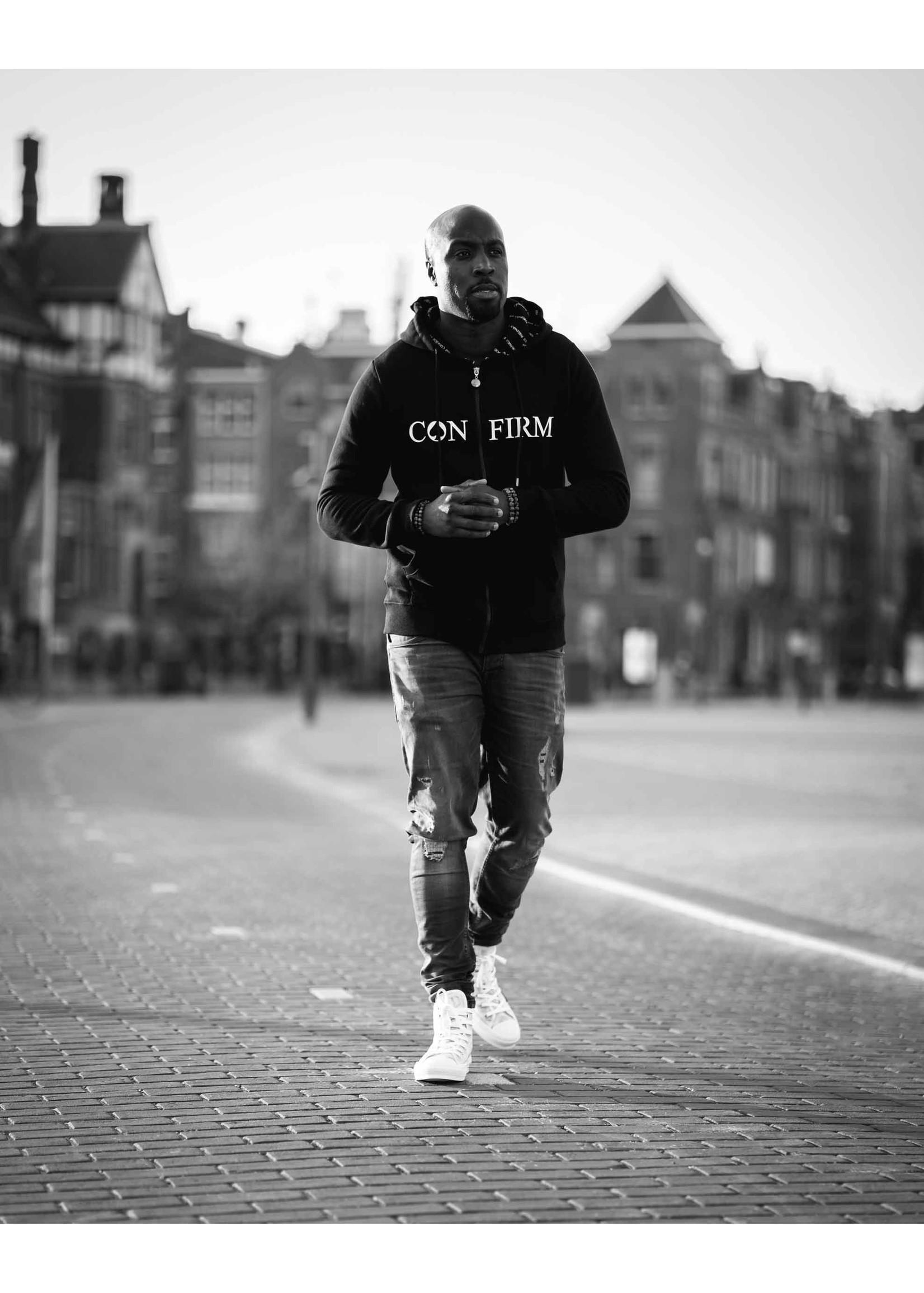 Confirm brand zipped hoodie - zwart