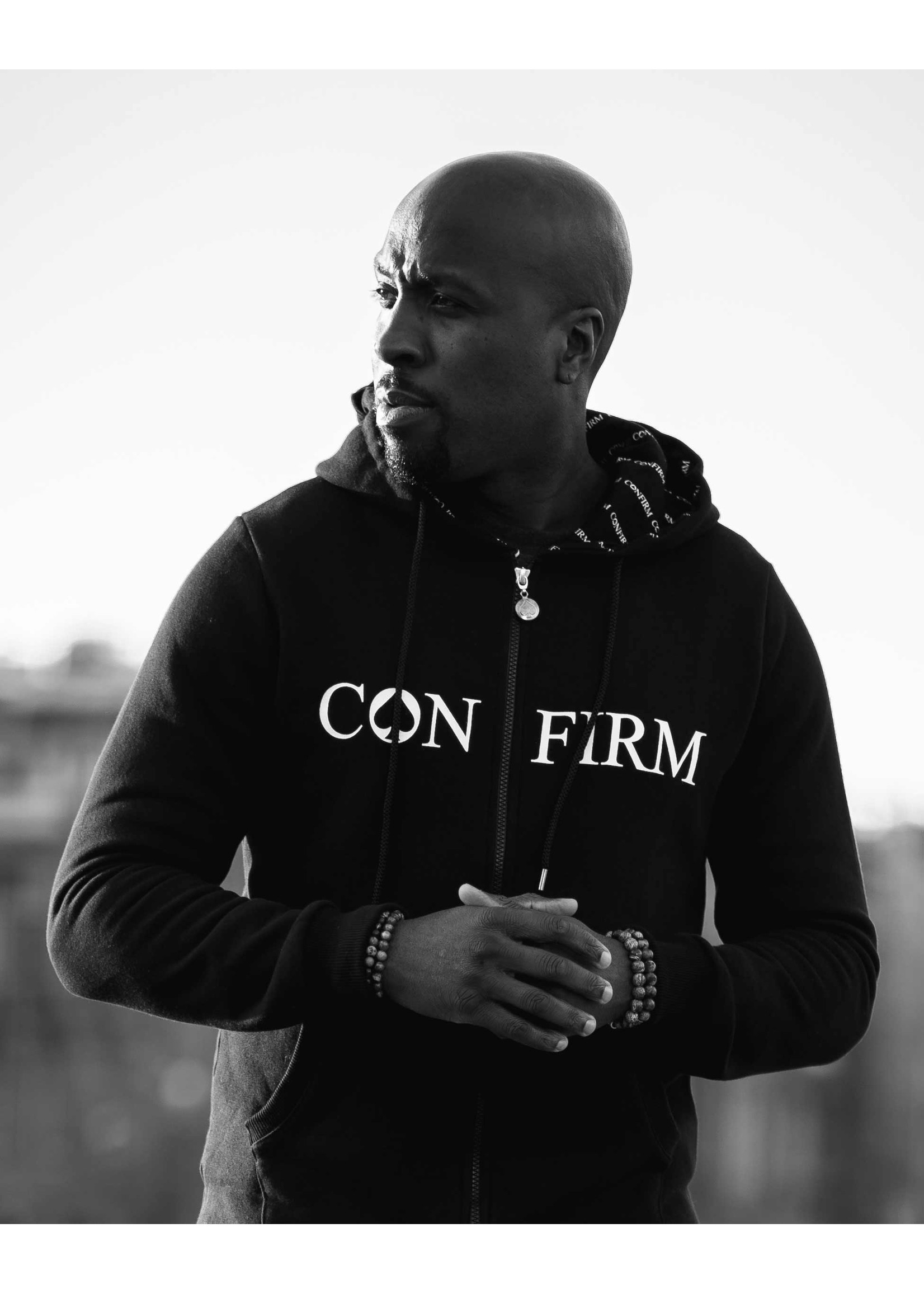 Confirm brand zipped hoodie - black