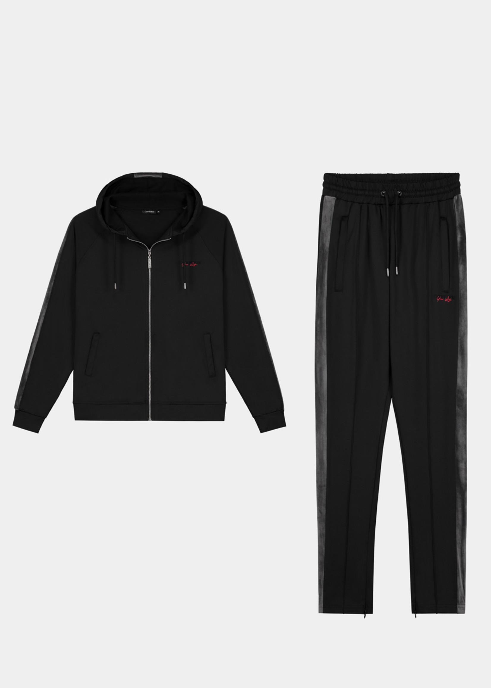Confirm tracksuit velvet - black