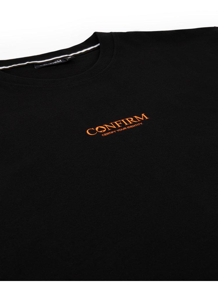 Confirm brand T-shirt identity subtle - neon orange