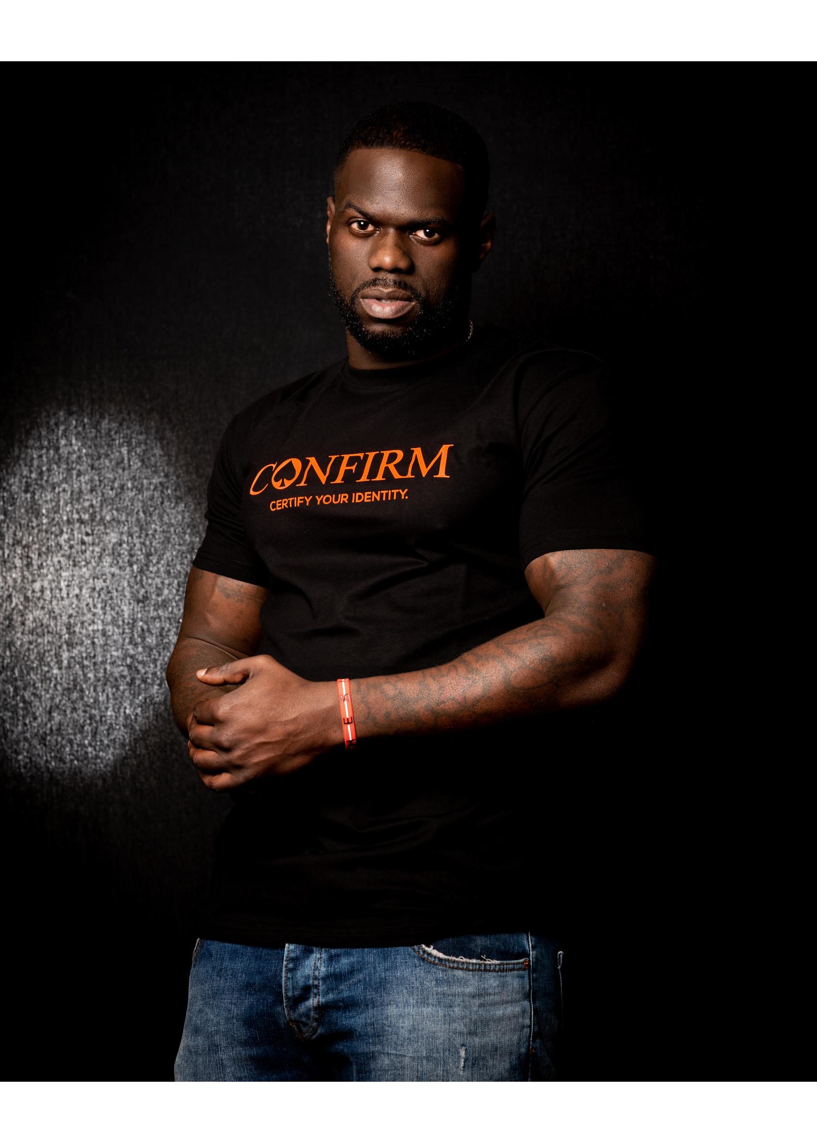 Confirm brand T-shirt identity - neon orange