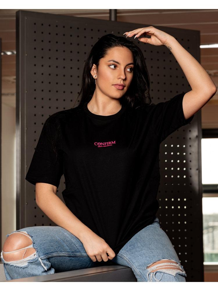 Confirm brand  T-shirt identity subtle - neon roze