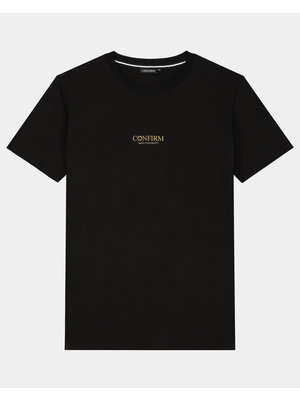 Confirm brand T-shirt identity subtle - golden reflection