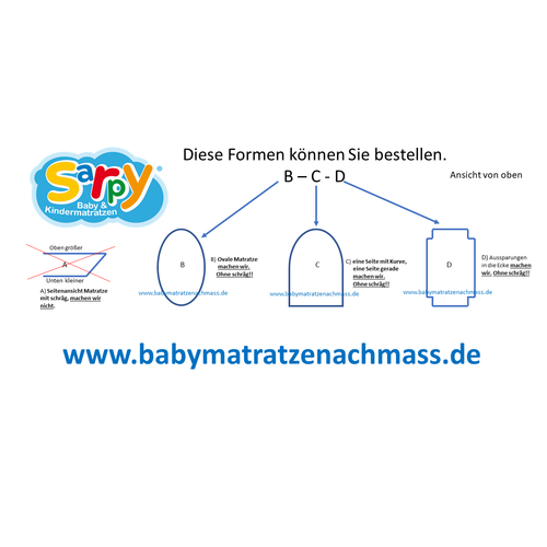 Matratze nach Mass Oval Babymatratze nach Maß Kaltschaum HR65