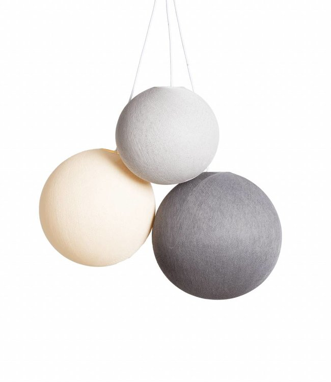 COTTON BALL LIGHTS Triple Hanging Lamp 1 point - Glowy Greys