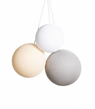 COTTON BALL LIGHTS Triple Hanging Lamp 1 point - Natural Colors