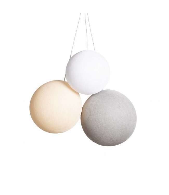 COTTON BALL LIGHTS Triple Hanging Lamp - Natural Colors (one point)