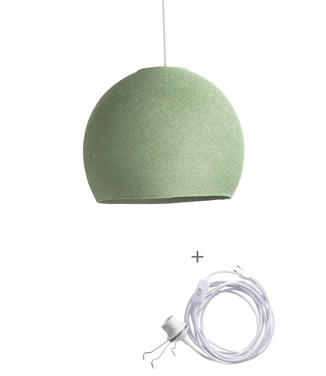 COTTON BALL LIGHTS Wandering Lamp Three Quarter - Sage Green