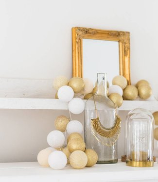 COTTON BALL LIGHTS Sparkling Lichterkette - Touch of Gold