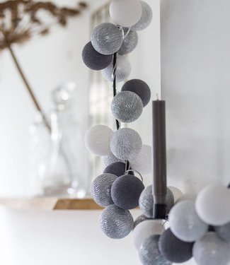 COTTON BALL LIGHTS Sparkling Light String - Silver Mix