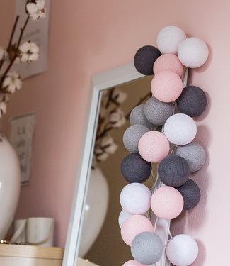COTTON BALL LIGHTS Regular Lichterkette - Pink/Grey