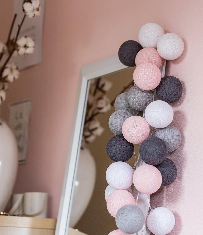 COTTON BALL LIGHTS Regular Light String - Pink/Grey