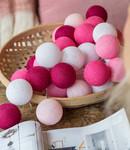 COTTON BALL LIGHTS Regular Light String - Pink