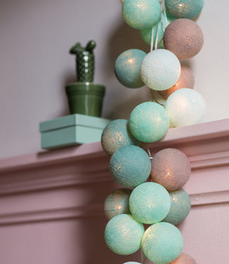 COTTON BALL LIGHTS Regular Lichterkette - Mint